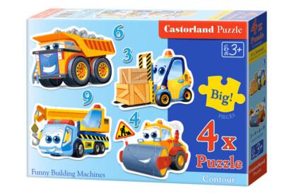 Castorland B-005024 - Sziluett puzzle - Munkagépek -  3,4,6,9 db-os puzzle