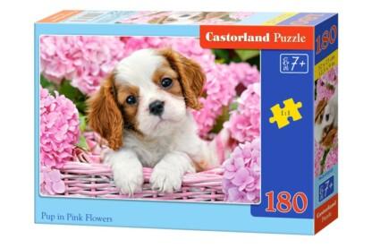 Castorland B-018185 - Kiskutya rózsaszín virágok közt - 180 db-os puzzle