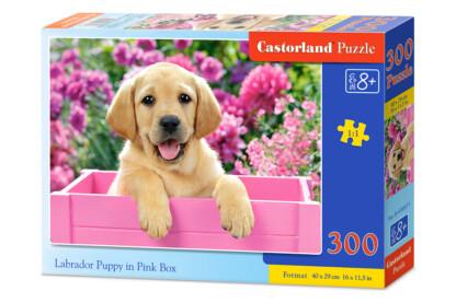 Castorland B-030071 - Labrador kölyök rózsaszín dobozban - 300 db-os puzzle