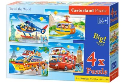 Castorland B-041015 - Világkörüli út - 4 az 1-ben (8, 12, 15, 20 db-os) puzzle