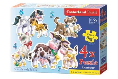 Castorland B-04218 - Sziluett puzzle - Állatok és kicsinyeik - 4,5,6,7 db-os puzzle