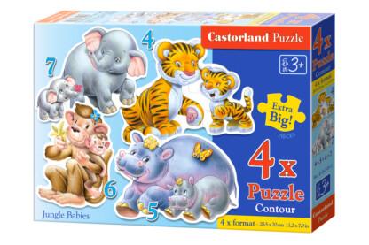 Castorland B-04249 - Sziluett puzzle  - A dzsungel kicsinyei - 4,5,6,7 db-os