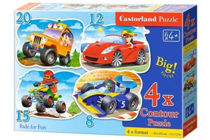 Castorland B-043057 - Vidám száguldás - 4 az 1-ben (8, 12, 15, 20 db-os) puzzle