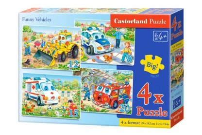 Castorland B-04324 - Vicces járművek - 4 az 1-ben (8, 12, 15, 20 db-os) puzzle