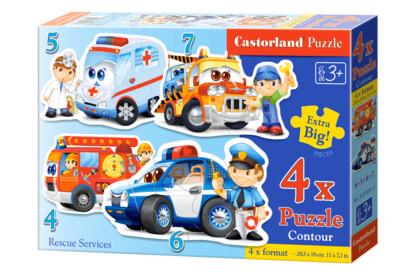Castorland B-04393 - Sziluett puzzle - Mentő járművek - 4,5,6,7 db-os puzzle