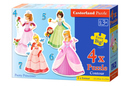Castorland B-04409 - Sziluett puzzle - Csinos hercegnők - 4,5,6,7 db-os puzzle