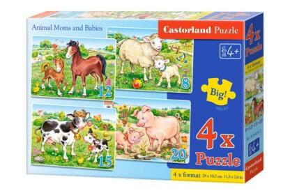 Castorland B-04416 - Állatok és kicsinyeik - 4 az 1-ben (8, 12, 15, 20 db-os) puzzle