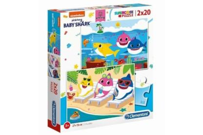 Clementoni 24777 - Baby Shark - 2 x 20 db-os Szuper Színes puzzle
