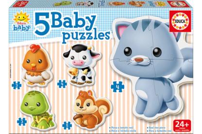 Educa 13473 -  Baby sziluett puzzle - Állatok - Cicás - 3,4,5 db-os puzzle