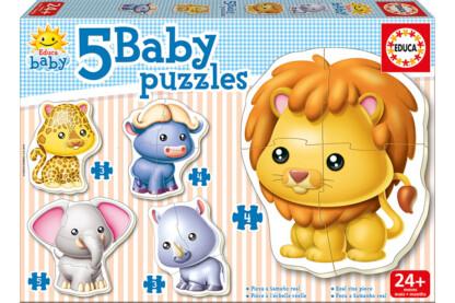 Educa 14197 -  Baby sziluett puzzle - Vadállatok - 3,4,5 db-os puzzle