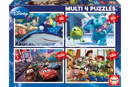 Educa 15615 - Disney Pixar mesehősök - 4 az 1-ben puzzle (50,80,100,150 db-os) puzzle