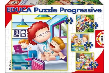 Educa 15618 - Foglalkozások - 4 az 1-ben puzzle (12,16,20,25 db-os) puzzle