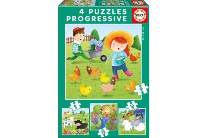 Educa 17145 - Állatok a farmon - 4 az 1-ben puzzle (6,9,12,16 db-os) puzzle