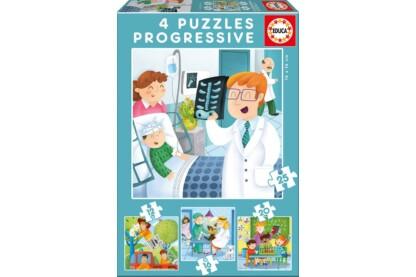 Educa 17146 - Foglalkozások  - 4 az 1-ben puzzle (6,9,12,16 db-os) puzzle