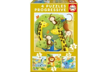 Educa 17147 - Vadállatok  - 4 az 1-ben puzzle (12,16,20,25 db-os) puzzle