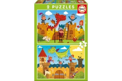 Educa 17151 - Lovagok és sárkányok - 2 x 48 db-os puzzle