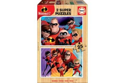 Educa 17624 - Hihetetlen család 2 - 2 x 25 db-os fa puzzle