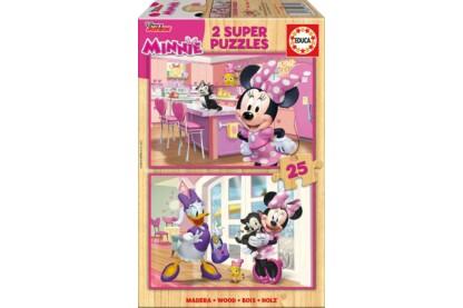Educa 17625 - Minnie Mouse vidám segítői - 2 x 25 db-os fa puzzle