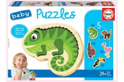 Educa 18587 - Baby sziluett puzzle - Trópusi állatok - 3,4,5 db-os puzzle