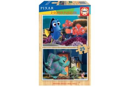 Educa 18597 - Disney Pixar mesék - 2 x 25 db-os fa puzzle