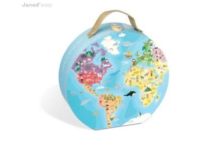 Janod 02926 - A Föld puzzle bőröndben - 208 db-os puzzle