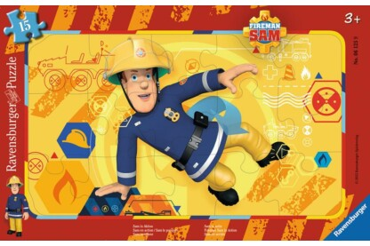 Ravensburger 06125 - Sam, a tűzoltó - Sam akcióban - 15 db-os keretes puzzle