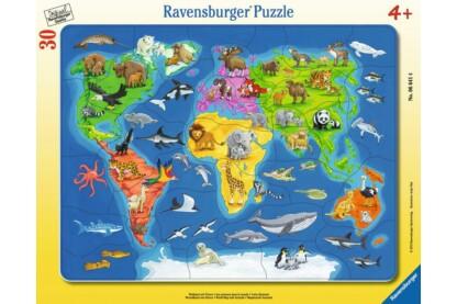 Ravensburger 06641 - Világtérkép állatokkal - 30 db-os keretes puzzle