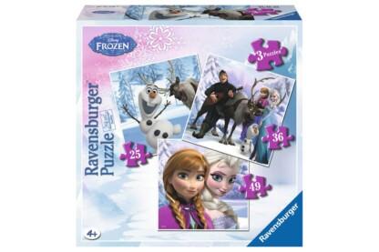 Ravensburger 07276 - Jégvarázs - Anna, Elsa és barátaik - 3 az 1-ben (25,36,49 db-os) puzzle