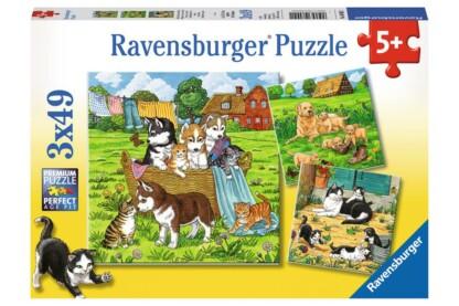 Ravensburger 08002 - Kutyák és cicák - 3 x 49 db-os puzzle
