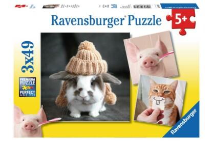 Ravensburger 08028 - Mókás állatportrék - 3 x 49 db-os puzzle