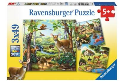 Ravensburger 09265 - Állatok az erdőben, állatkertben és a ház körül - 3 x 49 db-os puzzle