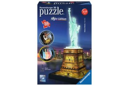 Ravensburger 12596- Night Edition - Szabadság szobor - 108 db-os 3D puzzle