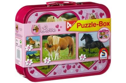 Schmidt 55588 - Pferde Puzzle-Box - 2x26+2x48 db-os puzzle fém bőröndben