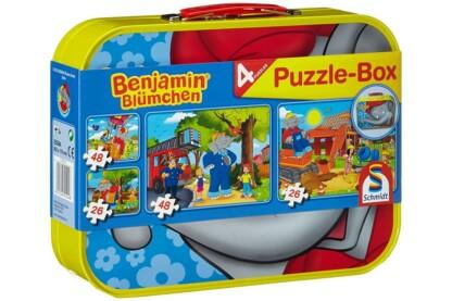 Schmidt 55594 - Benjamin the Elephant Puzzle-Box - 2x26+2x48 db-os puzzle fém bőröndben