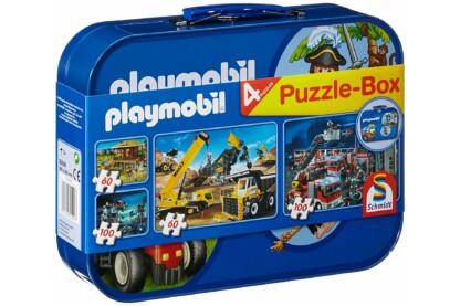Schmidt 55599 - Playmobil Puzzle-Box - 2x60+2x100 db-os puzzle fém bőröndben