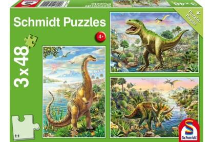 Schmidt 56202 - Dinosaur Adventures - 3 x 48 db-os puzzle
