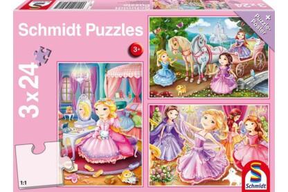 Schmidt 56217 - Fairytale Princesses - 3 x 24 db-os puzzle