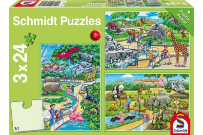 Schmidt 56218 - A Day at the Zoo - 3 x 24 db-os puzzle
