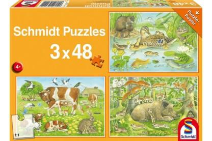 Schmidt 56222 - Animal Family - 3 x 48 db-os puzzle