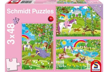 Schmidt 56225 - Princess in the castle garden - 3 x 48 db-os puzzle