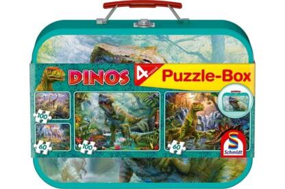 Schmidt 56495 - Dinosaurs Puzzle-Box - 2x60+2x100 db-os puzzle fém bőröndben