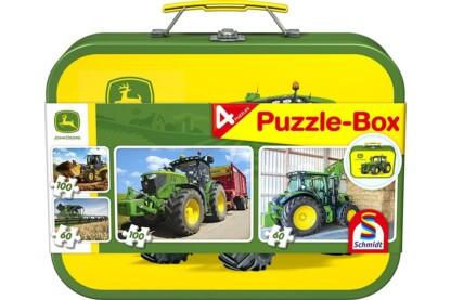 Schmidt 56497 - John Deere Puzzle-Box - 2x60+2x100 db-os puzzle fém bőröndben
