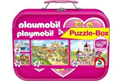 Schmidt 56498 - Pink  Playmobil Puzzle-Box - 2x60+2x100 db-os puzzle fém bőröndben