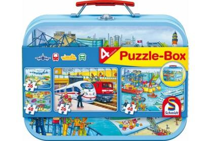Schmidt 56508 - Verkehrsmittel - 2x26+2x48 db-os puzzle fém bőröndbenSchmidt 56508 - Verkehrsmittel Puzzle-Box - 2x26+2x48 db-os puzzle fém bőröndben