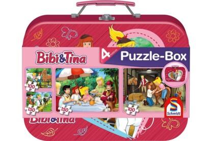 Schmidt 56509 - Bibi & Tina Puzzle-Box - 2x100+2x150 db-os puzzle fém bőröndben