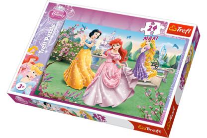 Trefl 14135 - Disney Hercegnők a szökőkútnál - 24 db-os Maxi puzzle