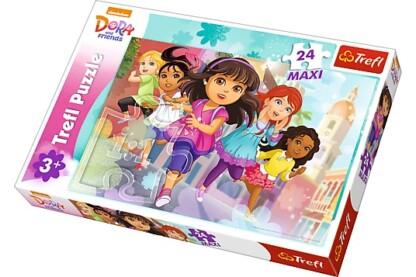 Trefl 14242 - Dóra és barátai - Kész, rajt! - 24 db-os Maxi puzzle