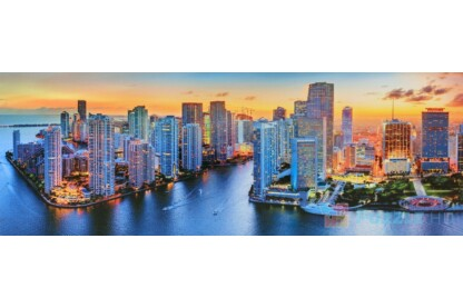 Trefl 29027 - Panoráma puzzle - Miami naplementében - 1000 db-os puzzle