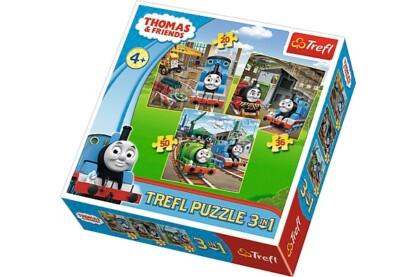 Trefl 34821 - Thomas és barátai - 3 az 1-ben (20, 36, 50 db-os) puzzle