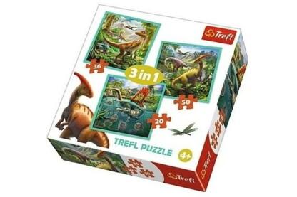Trefl 34837 - Dinoszauruszok - 3 az 1-ben (20, 36, 50 db-os) puzzle